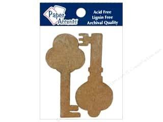 Paper Accents Chipboard Shape Keys 8 pc. Kraft