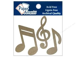 chipboard shapes: Paper Accents Chipboard Shape Music Notes 8 pc. Kraft