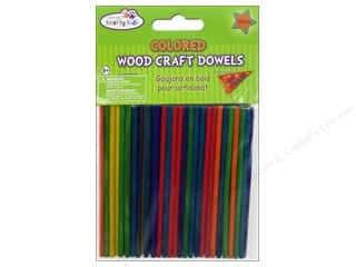 Multi Colored Yarn: Craft Medley Wood Dowel 4 x 1/8 in. Colored 100 pc.
