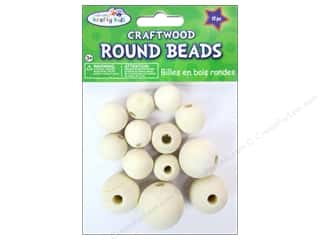 wood beads: Craft Medley Wood Bead Round 3/4 - 1 3/16 in. Natural 13 pc.