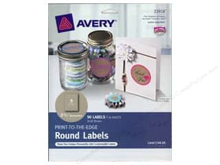 Avery Print-To-The Edge Round Labels 2 1/2 in. Kraft Brown 90 pc.