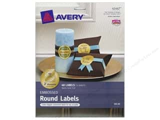 Labels: Avery Round Labels 2 in. Embossed Matte Gold Foil 48 pc.