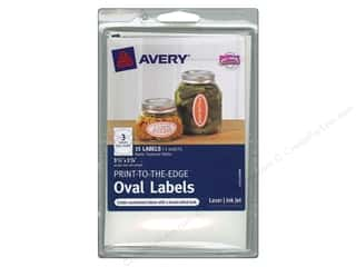 Labels: Avery Print-To-The Edge Oval Labels 3 3/4 in. Textured Matte White 15 pc.