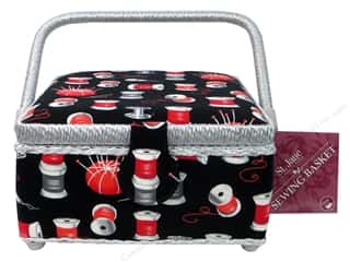 Saint Jane: St Jane Sewing Baskets Small Square Black/Red