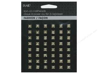 beading & jewelry making supplies: Plaid Iron On Hot Fix Nailhead Pyramid Brass