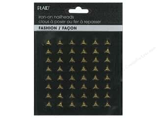 beading & jewelry making supplies: Plaid Iron On Hot Fix Nailhead Triangle Shiny Gold