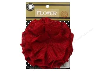burlap: Canvas Corp Burlap Flower 4 in. Red