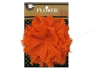 Canvas Corp Burlap Flower 4 in. Orange