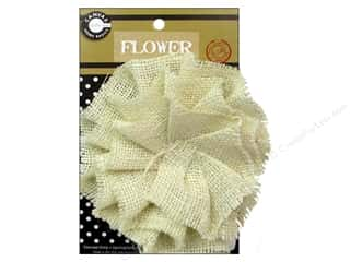 Canvas Home Basics: Canvas Corp Burlap Flower 4 in. Ivory