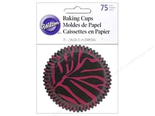 Baking Wraps / Cupcake Wrappers: Wilton Baking Cup Standard Zebra Pink 75pc