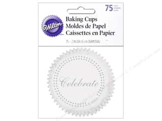 Baking Wraps / Cupcake Wrappers: Wilton Baking Cup Standard Celebrate Silver 75pc