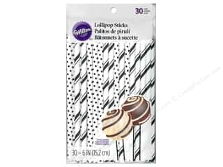 "Wilton Decorations Lollipop Sticks 6"" Black 30pc"