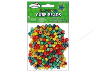 wood beads: Multicraft Krafty Kids Wood Bead Cube 6mm Color 250pc