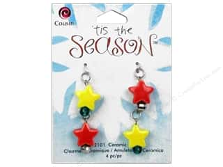 beading & jewelry making supplies: Cousin Tis The Season Christmas Charm Ceramic Stars 4pc