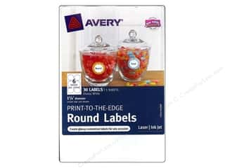 Labels: Avery Print-To-The Edge Round Labels 1 5/8 in. Glossy White 30 pc.