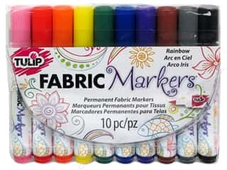 craft & hobbies: Tulip Fabric Marker Set Brush Tip Rainbow 10pc