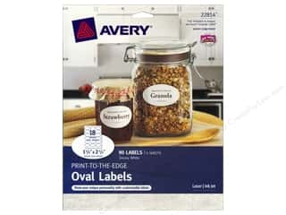 craft & hobbies: Avery Print-To-The Edge Oval Labels 1 1/2 x 2 1/2 in. Glossy White 90 pc.