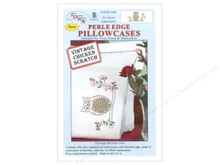 Jack Dempsey Pillowcase Perle Edge White Chicken Scratch Owl