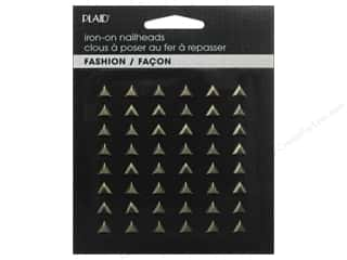 beading & jewelry making supplies: Plaid Iron On Hot Fix Nailhead Triangle Black Nickel