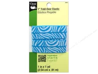 Best of 2013 Dritz Fold Over Elastic: Dritz Fold-Over Elastic 1 in. x 1 yd. Zebra Aqua/White