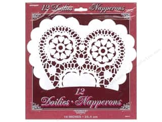 novelties: Unique Heart Doilies 10 in. 12 pc. White