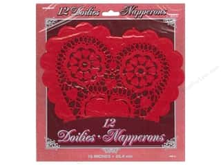 novelties: Unique Heart Doilies 10 in. 12 pc. Red