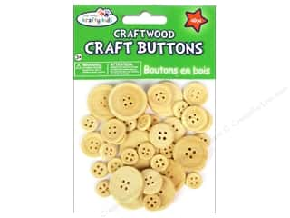 beading & jewelry making supplies: Multicraft Krafty Kids Craftwood Button Natural 40pc