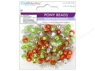 pony beads: Multicraft Bead Pony 8mm 19gm Silver-Lined Citrus