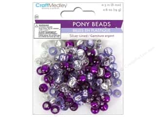 pony beads: Multicraft Bead Pony 8mm 19gm Silver-Lined Viola