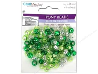 pony beads: Multicraft Bead Pony 8mm 19gm Silver-Lined Go Green