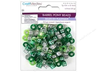 beading & jewelry making supplies: Multicraft Bead Pony 9x6mm 25gm Barrel Go Green