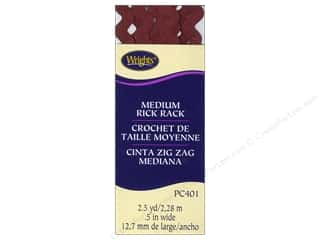 wrights rick rack 2.5 yards: Wrights Rick Rack Medium 2 1/2 yd. Ox Blood