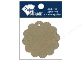 twine: Paper Accents Chipboard Shape Scalloped Circle Tag 12 pc. Natural