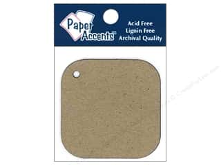 scrapbooking & paper crafts: Paper Accents Chipboard Shape Square Tag with Round Corners 12 pc. Natural