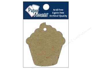 twine: Paper Accents Chipboard Shape Cupcake Tag 12 pc. Natural