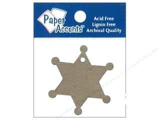 twine: Paper Accents Chipboard Shape Sheriff Badge Tag 12 pc. Natural