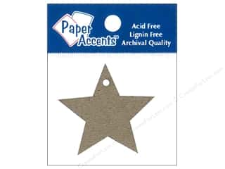 scrapbooking & paper crafts: Paper Accents Chipboard Shape Star Tag 12 pc. Natural