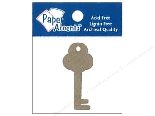 twine: Paper Accents Chipboard Shape Key Tag 12 pc. Natural