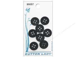 JHB Button Lady Buttons 1/2 in. Black #99057 8 pc.