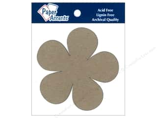 Chipboard Shapes  Flowers: Paper Accents Chipboard Shape Flower Power 8 pc. Kraft