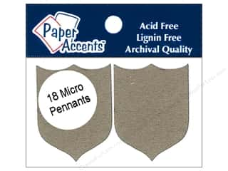 Paper Accents Chipboard Pennants 1 1/4 x 2 in. Micro Shield 18 pc. Kraft