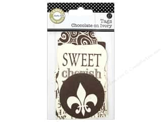 twine: Canvas Corp Printed Tags Chocolate On Ivory