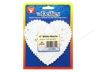 Hygloss Paper Lace Doilies Heart 4 in. White 36 pc.