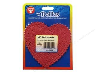 craft & hobbies: Hygloss Paper Lace Doilies Heart 4 in. Red 36 pc.