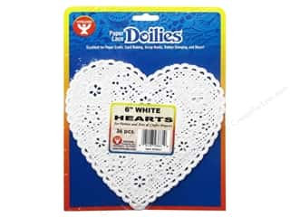 craft & hobbies: Hygloss Paper Lace Doilies Heart 6 in. White 36 pc.