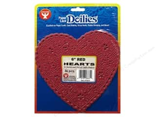 craft & hobbies: Hygloss Paper Lace Doilies Heart 6 in. Red 36 pc.