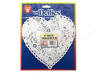 craft & hobbies: Hygloss Paper Lace Doilies Heart 8 in. White 36 pc.