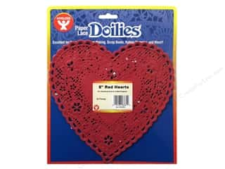 novelties: Hygloss Paper Lace Doilies Heart 8 in. Red 36 pc.
