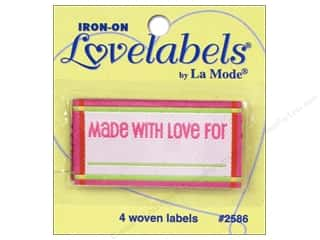 Blumenthal Quilting: Blumenthal Iron-On Lovelabels 4 pc. Made With Love For Pink