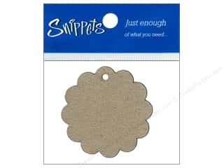 twine: Paper Accents Chipboard Shape Scalloped Circle Tag 4 pc. Natural
